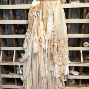 Skirt vintage fabric, doilies & lace. One-of!